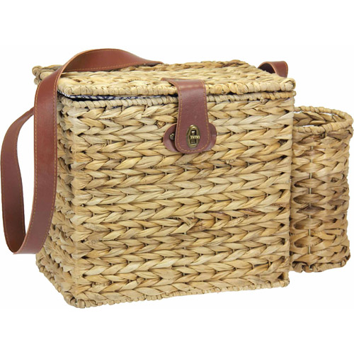 Household Essentials Banana Leaf Picnic Basket with Wine Caddy and Service for 2, Natural