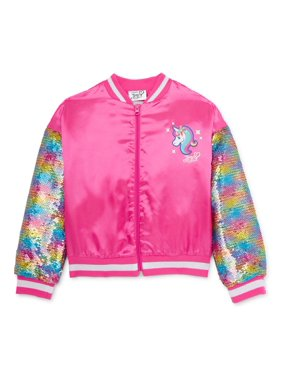 Jojo Siwa Girls 4-16 Bomber Jacket with Flip Sequin Sleeves