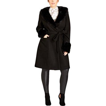 City Chic Womens Plus Make Me Blush Winter Knee-Length Wrap Coat