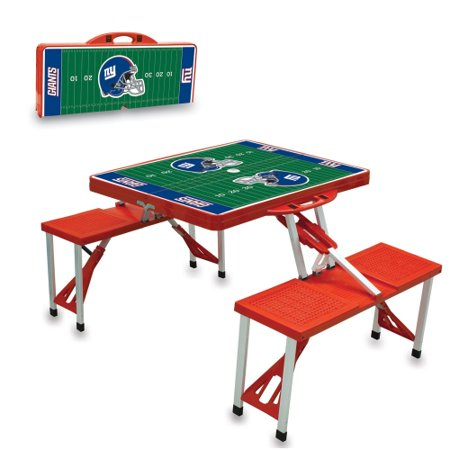 Picnic Time Red New York Giants Aluminum Portable Folding Sport Table with Seats ()