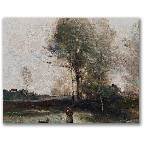 """Trademark Fine Art """"Morning In The Field"""" Canvas Wall Art by Jean Baptiste Corot"""
