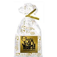 CakeSupplyShop Item#040CTC 40th Birthday / Anniversary Cheers Metallic Gold & Gold Swirl Party Favor Bags with Twist Ties