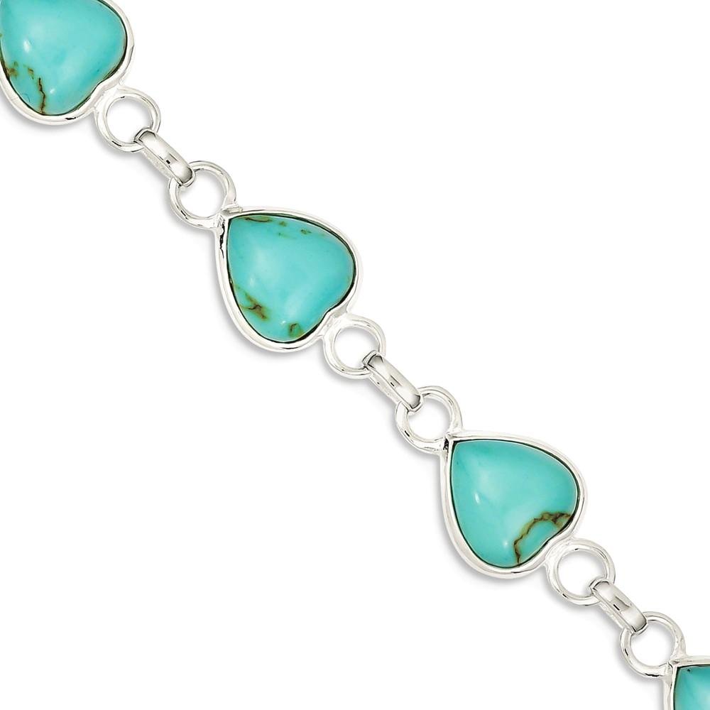 ICE CARATS ICE CARATS 925 Sterling Silver Heart Shaped Blue Turquoise Bracelet 7 Inch Gemstone  love Fine Jewelry Ideal... by IceCarats Designer Jewelry Gift USA