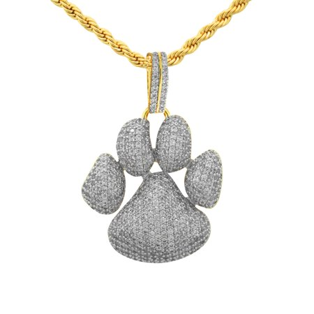 """14K Yellow Gold Plated Iced Out Hip Hop Bling Dog Paw Print Pendant With 24"""" Rope Chain"""