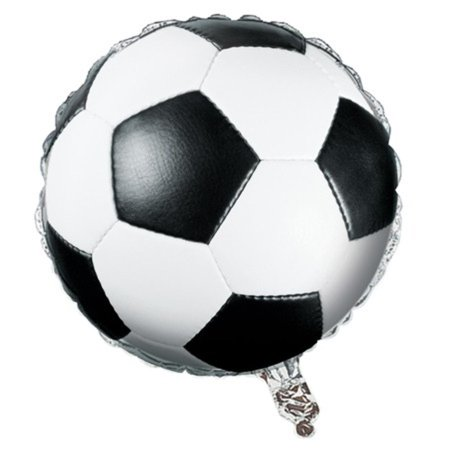 Pack of 10 Realistic Soccer Ball Metallic Foil Party Balloons 18