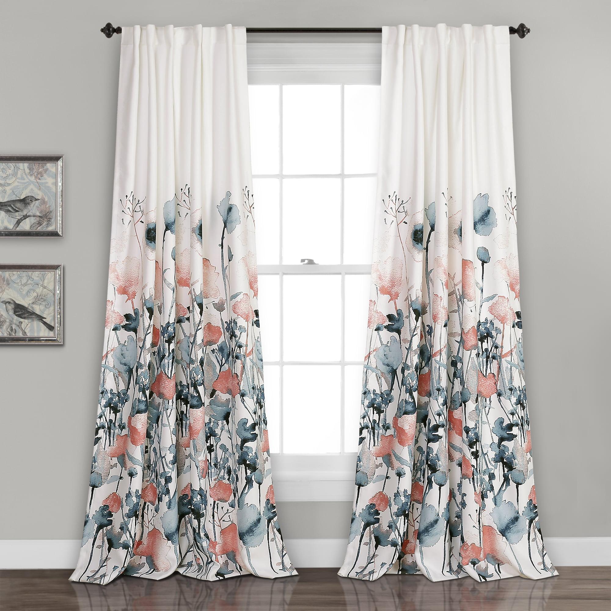 Zuri Flora Room Darkening Window Curtain Blue/Coral Set 52x84