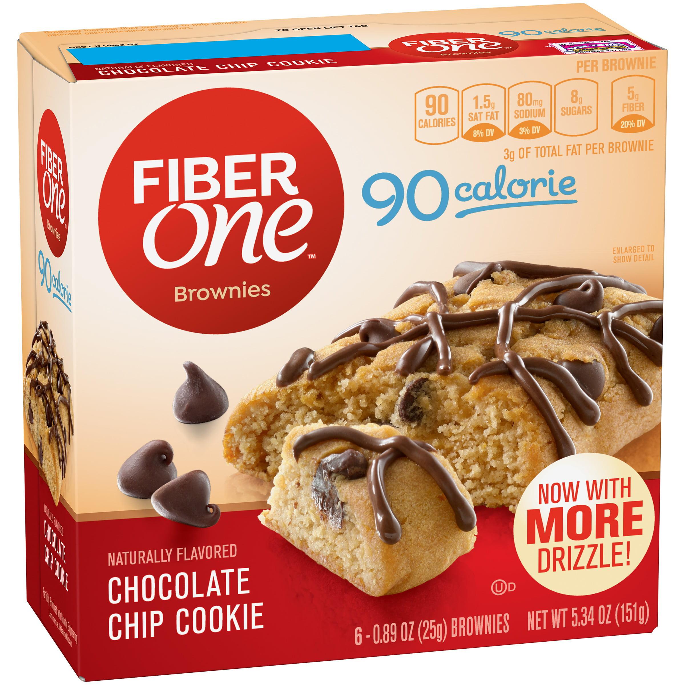 Fiber One 90 Calorie Brownie Chocolate Chip Cookie 6 - 0.89 oz Brownies