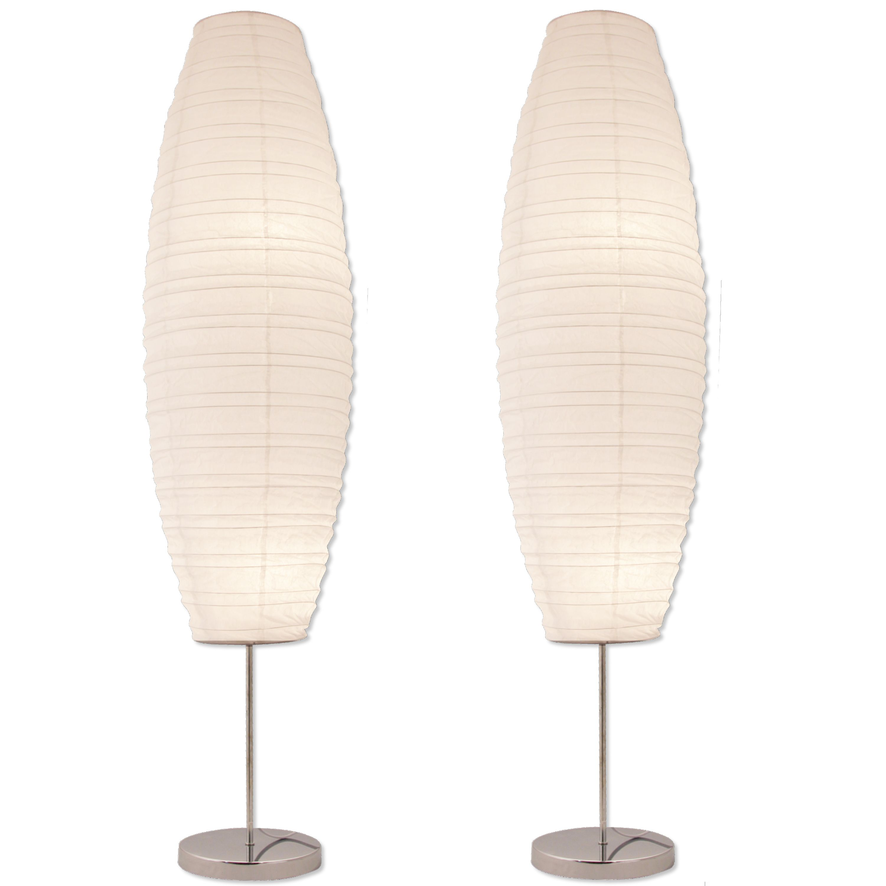 Light Accents Chrome Floor Lamp With Paper Shades Set Of 2