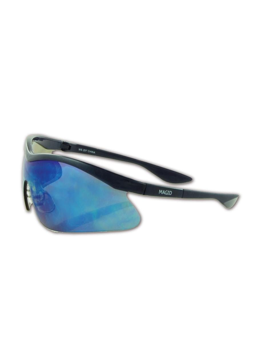 Magid Gemstone Zircon Safety Glasses, Blue Mirror Lens, Pair by