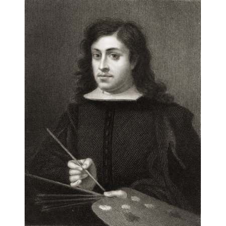 Bartolome Esteban Murillo C1618-1682 Baroque Religious Painter From The Book Gallery Of Portraits  Published London 1833 Stretched Canvas - Ken Welsh  Design Pics (13 x 17)