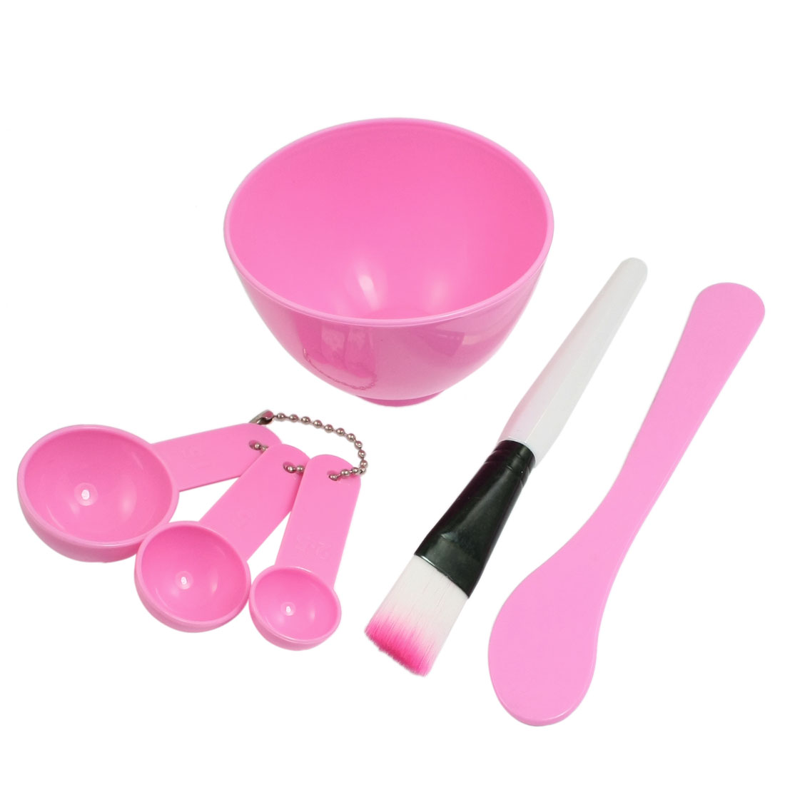 4 in 1 DIY Facial Mask Mixing Bowl Stick Brush Spoon Tool Pink for Women