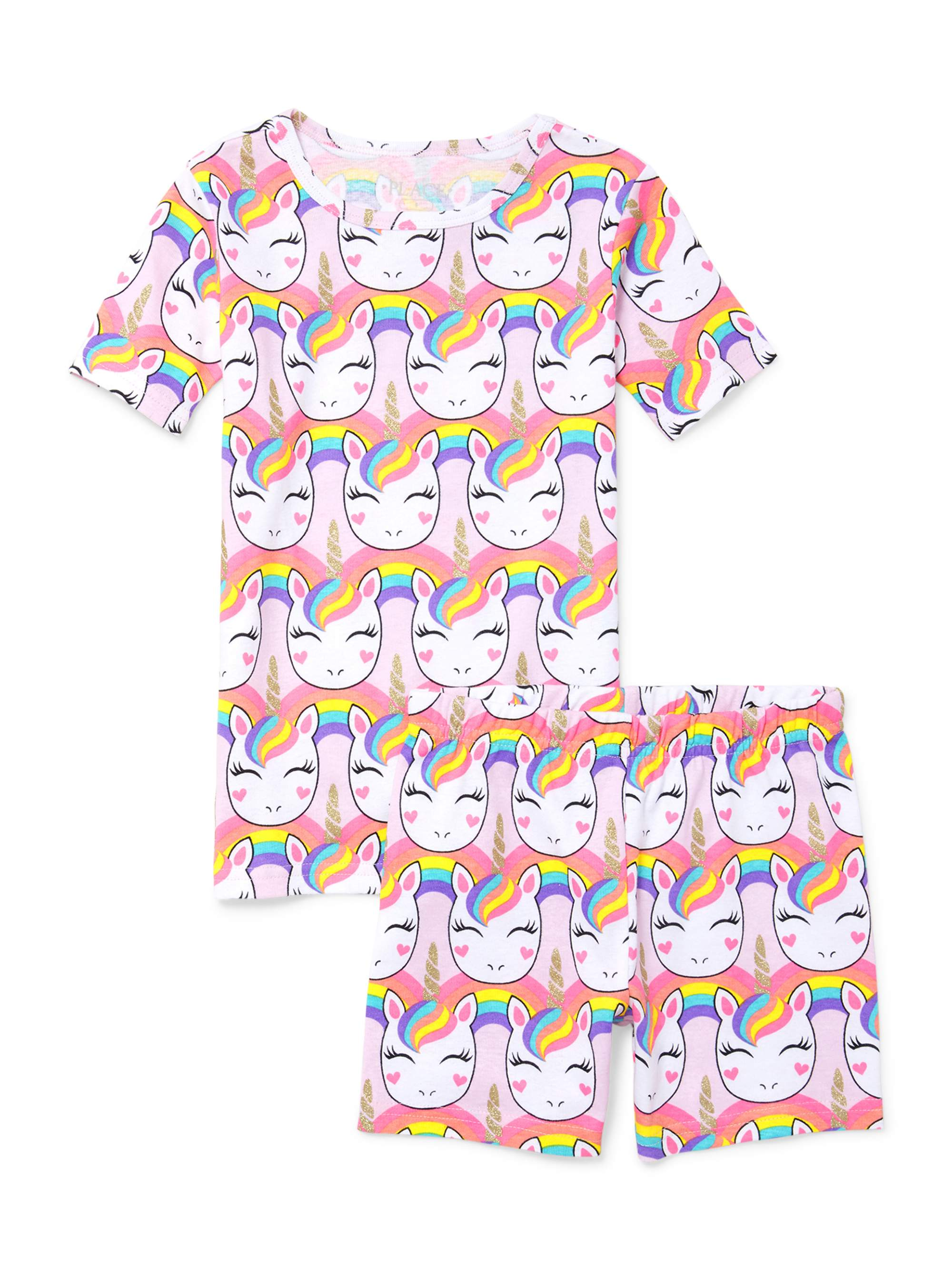 Girls' Short Sleeve Allover Unicorn Printed 2 Piece Pajama Sleep Set (Little Girl & Big Girl)