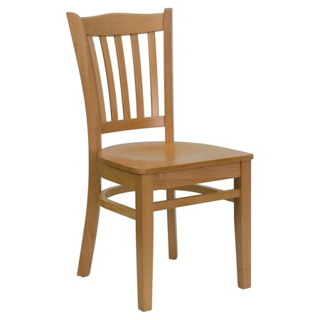 Flash Furniture HERCULES Series Natural Wood Finished Vertical Slat Back Wooden Restaurant Chair