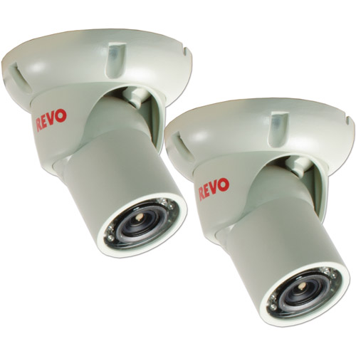Revo America 1200TVL Indoor/Outdoor Mini Turret Surveillance Camera with 100' Night Vision, 2-Pack