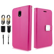 "Value Pack + for 5"" Samsung Galaxy J3 Star 2018 Orbit Amp Prime 3 Achieve Express Prime 3 J337 Emerge 2018 Phone Wallet case Detachable Bumper Mag Mount Ready Extra Pocket Screen Flip Cover pink"