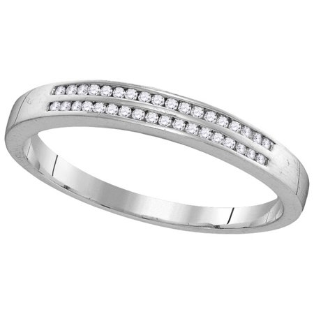 2 Row Channel Set - Size - 10 - Solid 10k White Gold Round White Diamond Men's Channel Set Two Rows Wedding Band OR Fashion Ring (.18 cttw)