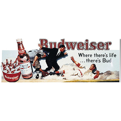 "Trademark Fine Art ""Budweiser Vintage Ad - Baseball"" Canvas Art, 12x32"