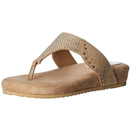 Annie Shoes Womens Jester Faux Suede Slide Thong Sandals Beige 6 Wide (C,D,W)