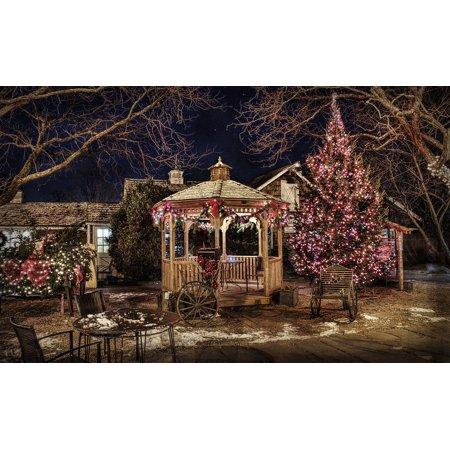 Canvas Print Gazebo Winter Backyard Pavilion HDR Historic Stretched Canvas 10 x 14 ()