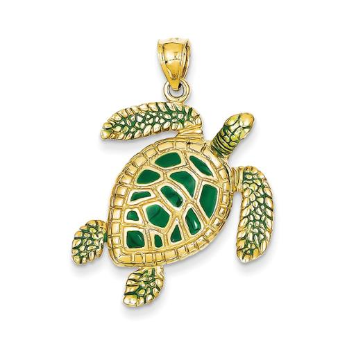 14k Yellow Gold 3-D Enameled Sea Turtle Pendant