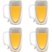 Starfrit Double-Wall Glass Beer Mugs, 17 oz, 4pk