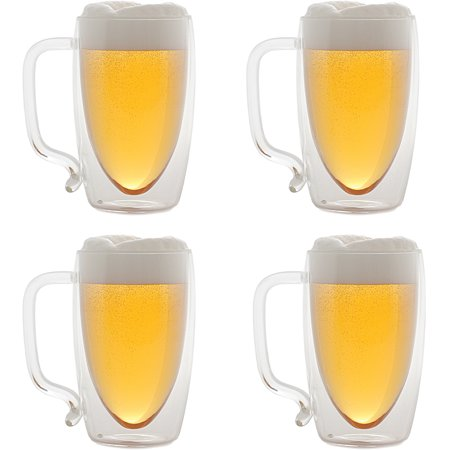 Starfrit Double-Wall Glass Beer Mugs, 17 oz, - Disposable Beer Mugs