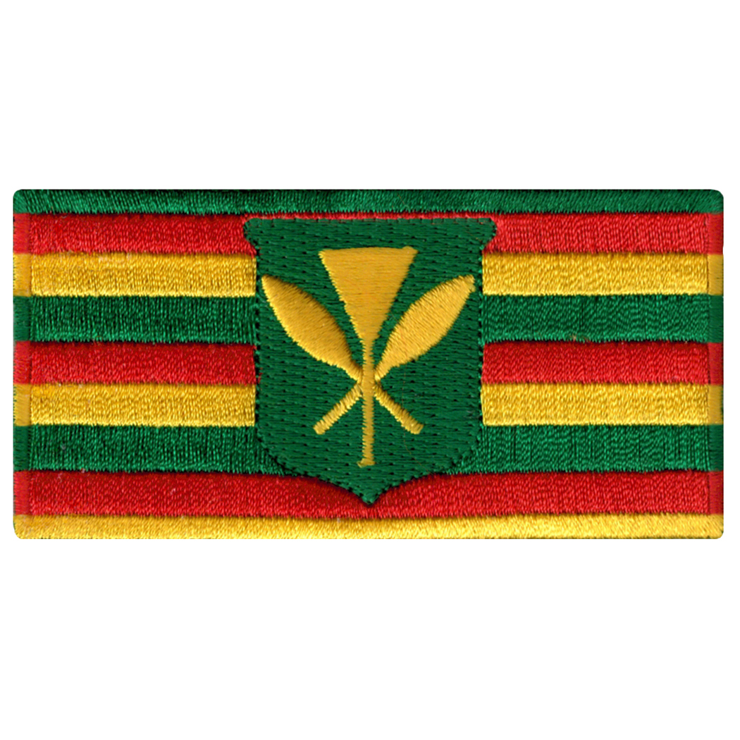 Hawaiian Kanaka Maoli Embroidered Iron-On Flag Patch