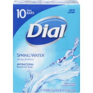 Dial Antibacterial Deodorant Bar Soap, Spring Water, 4 Ounce Bars, 10 Count