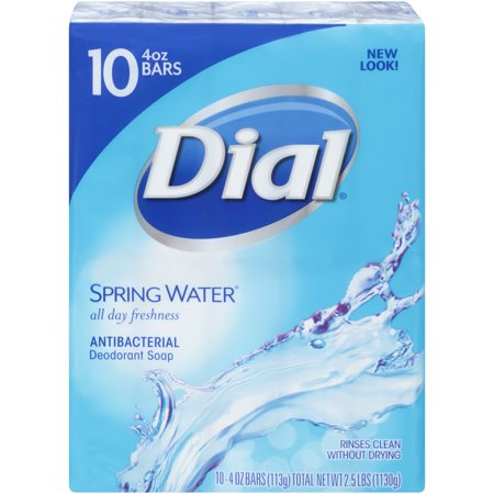 Dial Antibacterial Deodorant Bar Soap, Spring Water, 4 Ounce Bars, 10 Count
