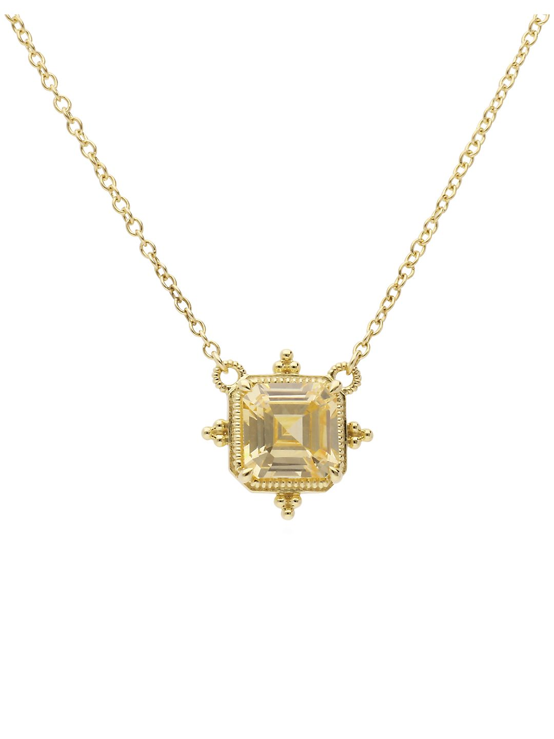 Angelica Canary Cubic Zirconia and 14K Yellow Gold Pendant Necklace
