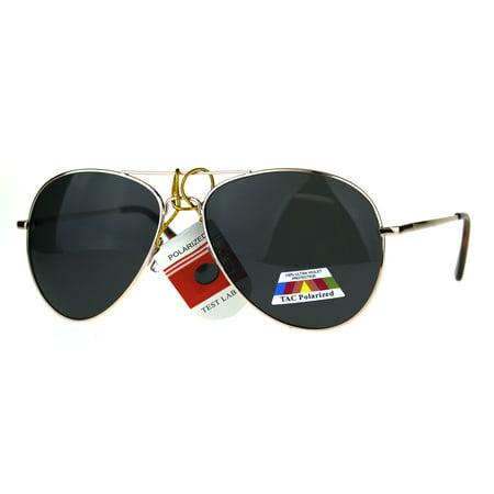 Polarized Antiglare Classic Metal Rim Officer Pilots Sunglasses Gold Black
