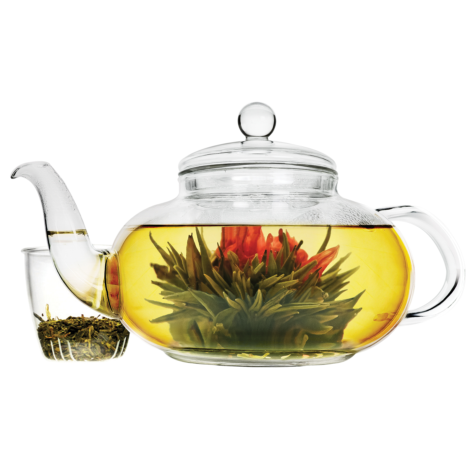Daisy 40 oz. Temperature Safe Glass Teapot with Glass Loose Leaf Tea Infuser