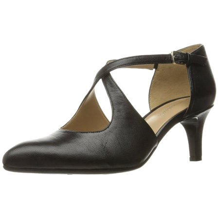 Womens Okira Leather Closed Toe Ankle Strap D-orsay Pumps Black Leather Peep Toe