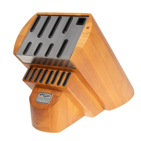 Wood Knife Holder (Chicago Cutlery Knife Block Without Knives For Kitchen Knife Set Wood Base and Stainless Steel Strike Plate )