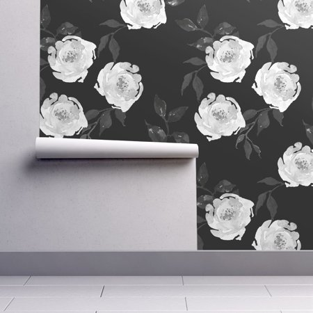 Peel-and-Stick Removable Wallpaper Monochrome Floral Black And White -