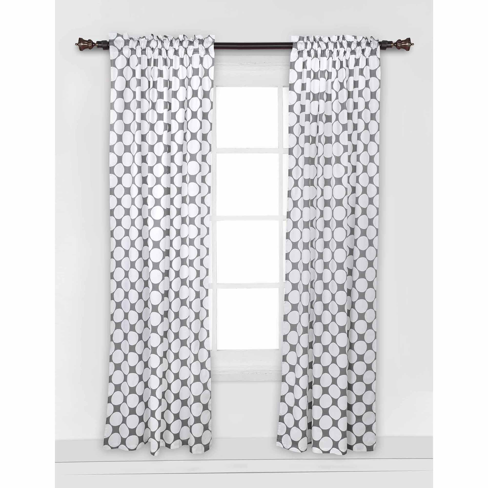 Bacati Dots/Pin Stripes Large Bacati Dots Curtain Panel, Gray