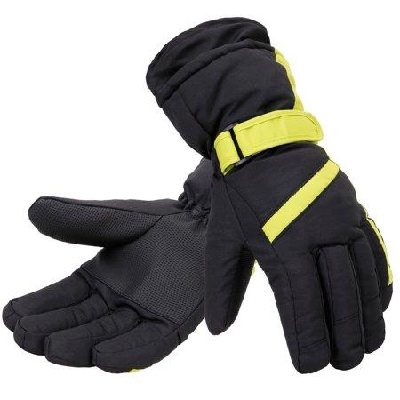White Mens Water Ski (Simplicity Men's Thinsulate Lined Winter Waterproof Ski Gloves )