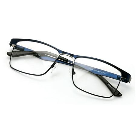 2c4f96d562 Men Rectangular Stainless Steel Glasses Frame w Anti Blue Ray Lens -  Computer Glasses - Blocker - Walmart.com