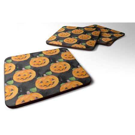 Set of 4 Watecolor Halloween Jack-O-Lantern Foam Coasters Set of 4 BB7524FC