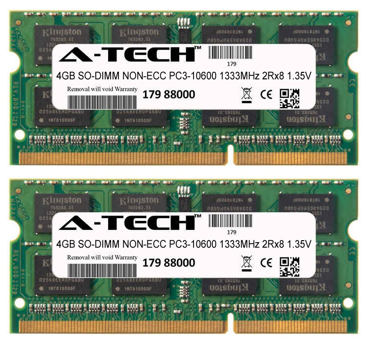 8GB Kit 2x 4GB Modules PC3-10600 1333MHz 1.35V 2Rx8 NON-ECC DDR3 SO-DIMM Laptop 204-pin Memory Ram