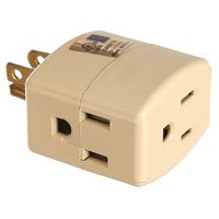 - Eaton Wiring Devices 1482V-BOX Cube, Grounded Outlet Tap, 15 A, 2-Pole, 3-Outlet, Ivory