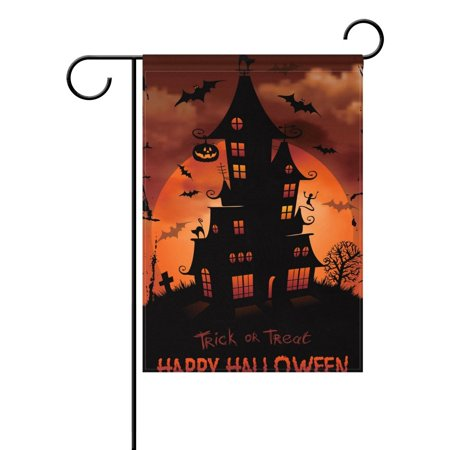 POPCreation Halloween Haunted House Full Moon Garden Flag 12x18 Inches Trick or Treat Decorative Yard Flag for Party Home Outdoor Decor