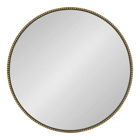 Kate and Laurel Gwendolyn Decorative Round Wall Mirror with Beaded Gold Leaf Frame, 23.6-Inch Diameter ()