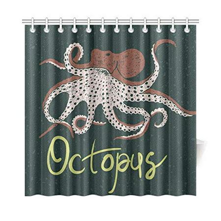 MKHERT Octopus Black Shower Curtain Home Decor Bathroom 66x72 Inch