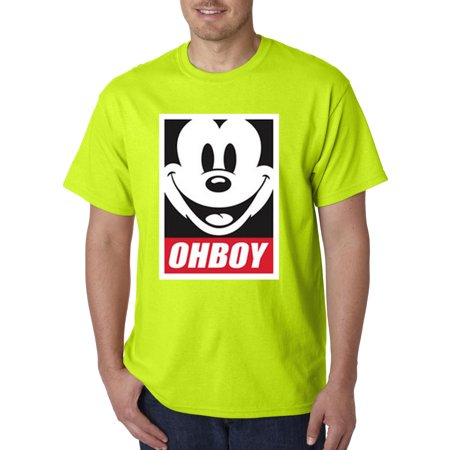Trendy USA 416 - Unisex T-Shirt Oh Boy Mickey Mouse Face Anonymous Dope Small Safety Green