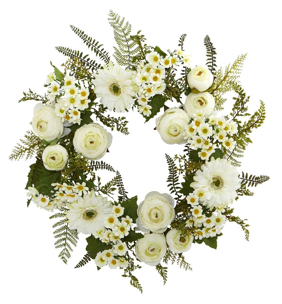 "nearly natural 24"" mixed daisy and ranunculus wreath"