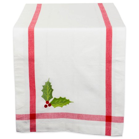 DII Embroidered Holly 100% Cotton, Machine Washable, Table Runner For Dinner Parties, Christmas, and Holidays - 14x108