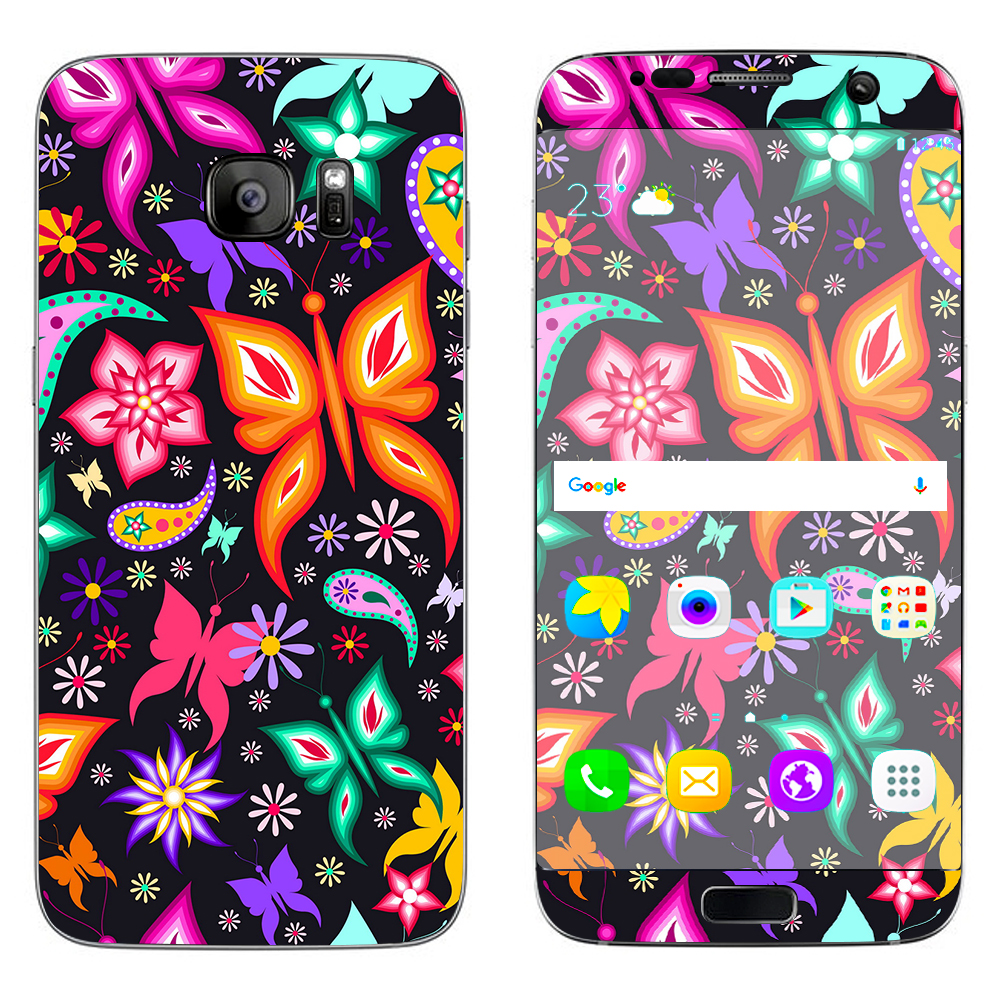 Skins Decals For Samsung Galaxy S7 Edge / Floral Butterflies
