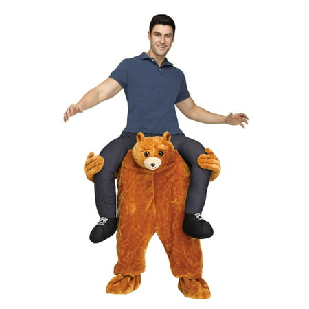 Teddy Bear Riding on Shoulder Men's Adult Halloween Costume - Adult Teddy Bear Costume