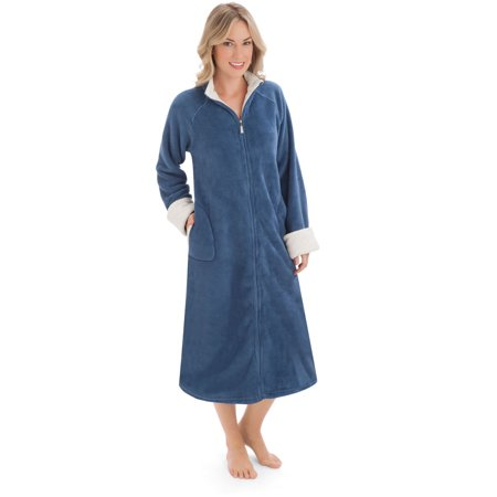 Women's Zip Front Plush Knit Robe, Medium, Navy
